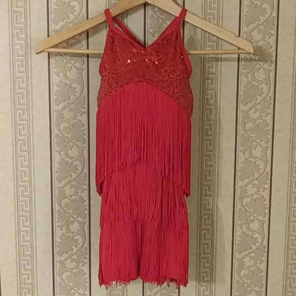 Weissman Red Sequin Flapper Fringe Leo Child Small
